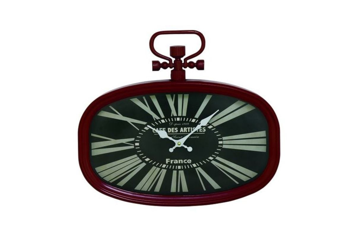 Oval Clock Face Vintage Reflections Chic Oval Wall Clock In Red