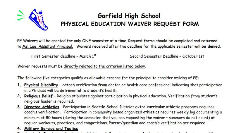 PE Waivers for 2nd Semester 2016-17 Due \u2014 Monday, Oct 2 \u2013 Garfield