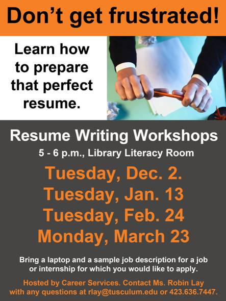 RESUME WORKSHOP - MARCH 23RD - GARLAND LIBRARY