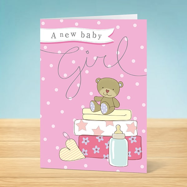 Baby Girl Card A New Baby Girl - Garlanna Greeting Cards