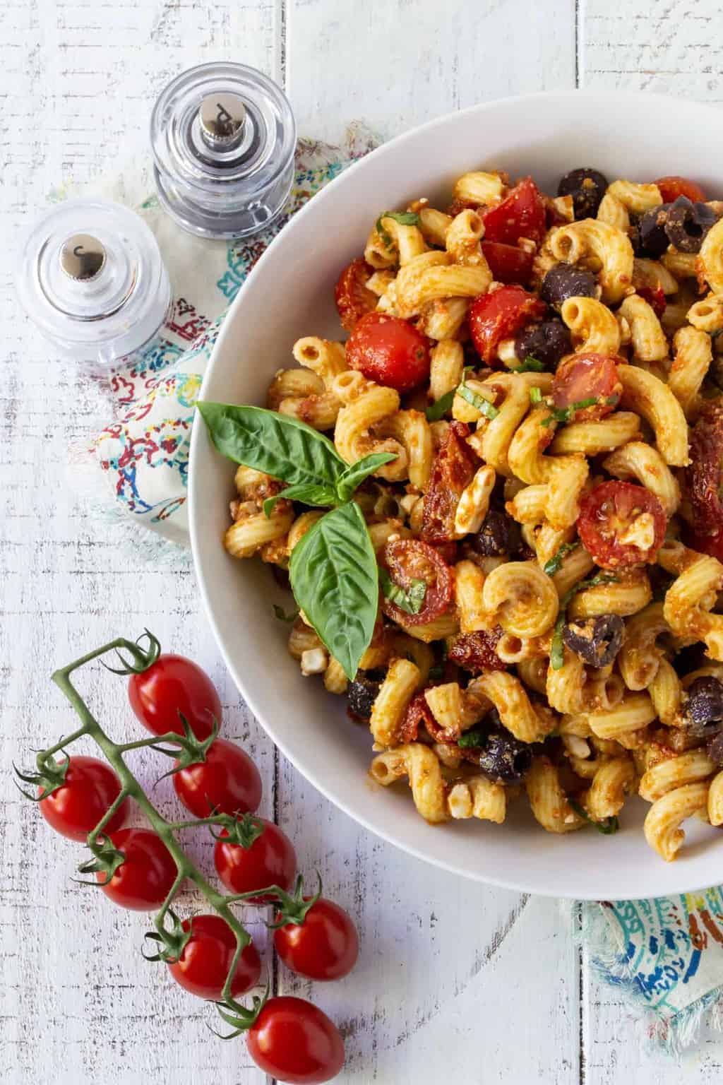 Greek Pasta Salad Make Ahead Recipe Garnish With Lemon