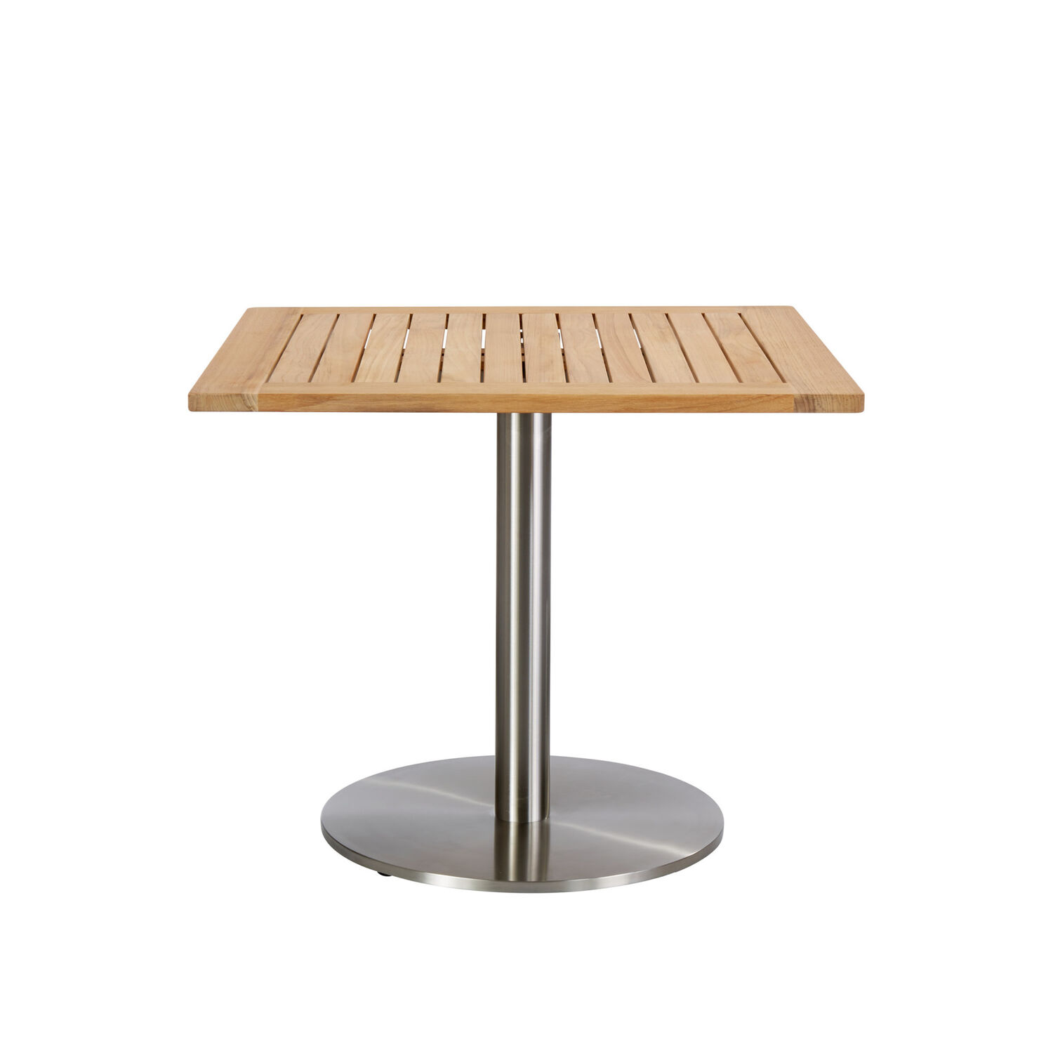 Teak Tisch 80x80 Ronda Single Pedestal Table Stainless Steel 80 X 80 With Teak Top