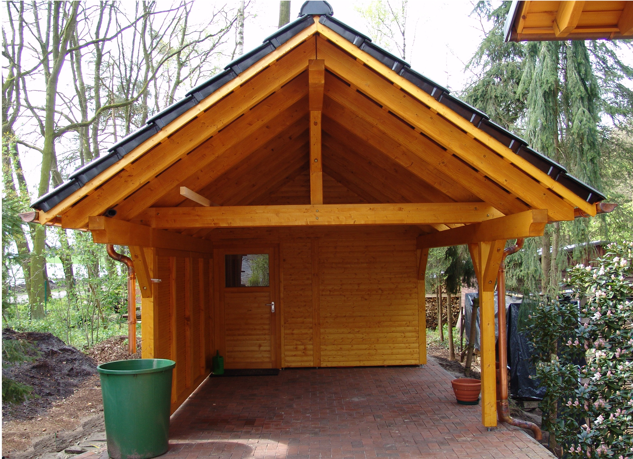 Gartenhütte Holz Single Carport - Bsh Saddle Roof - Garden House Wood Shop
