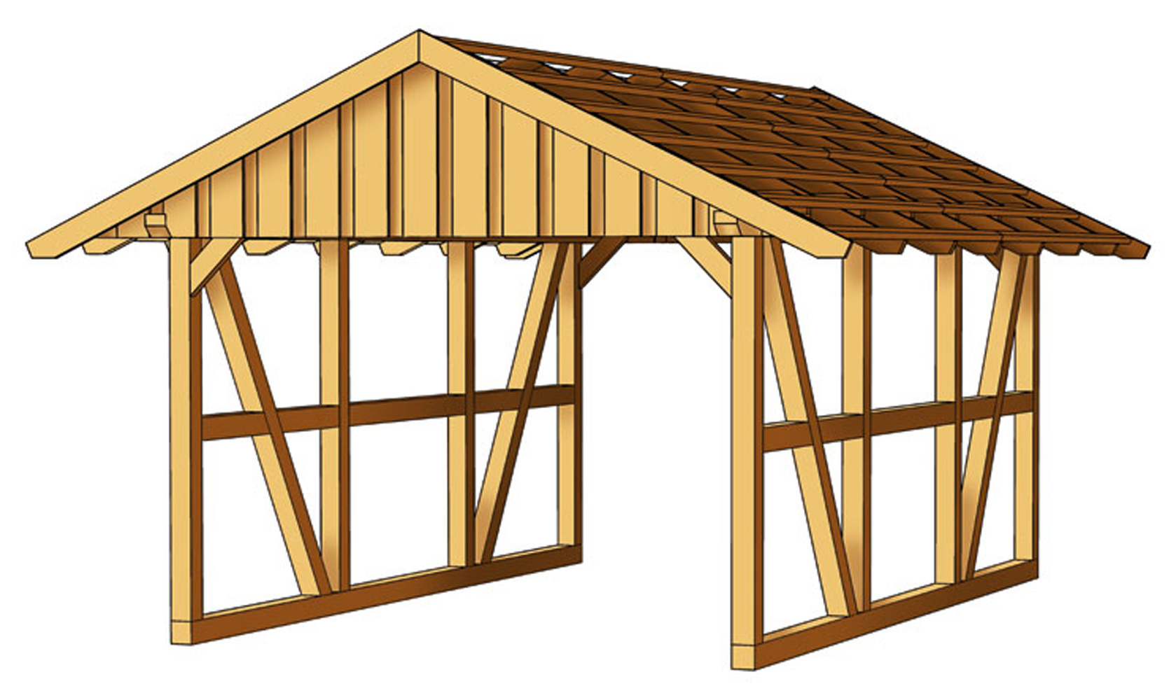 Gartenhütte Holz Single Carport Pitched Roof - Kvh - Garden House Wood Shop