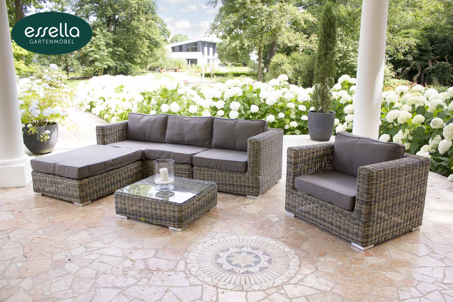 Essella Polyrattan Lounge Möbel Cannes Rundgeflecht