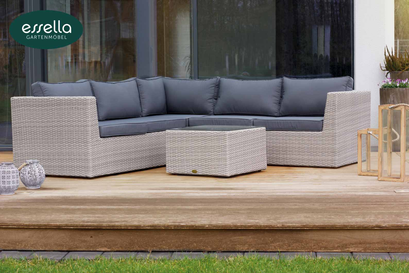 Essella Polyrattan Loungemöbel Oslo Rundgeflecht Too Design Gartenmöbel