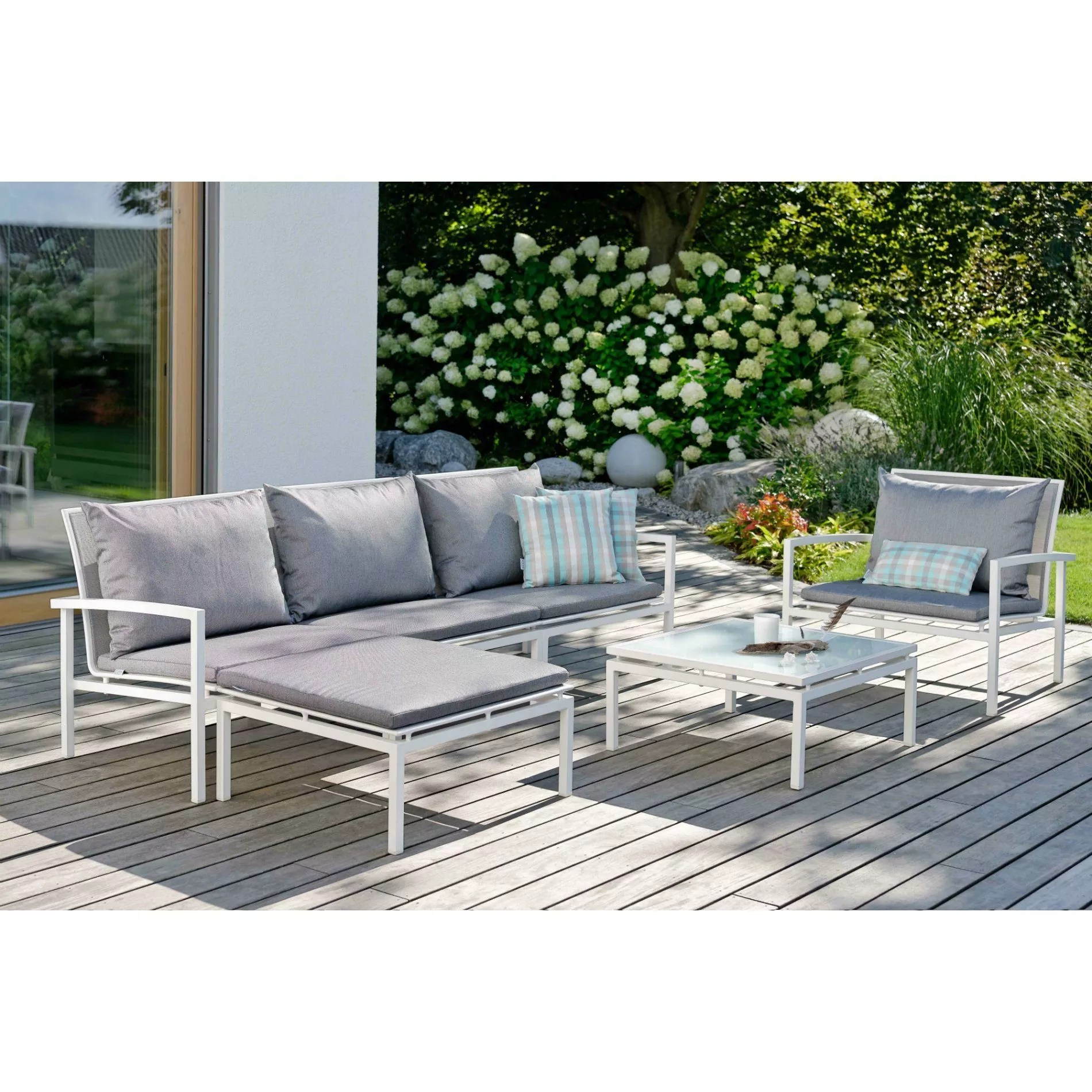 Stern Quot Skelby Quot Loungeset 15 Tlg Gestell Aluminium Weiß