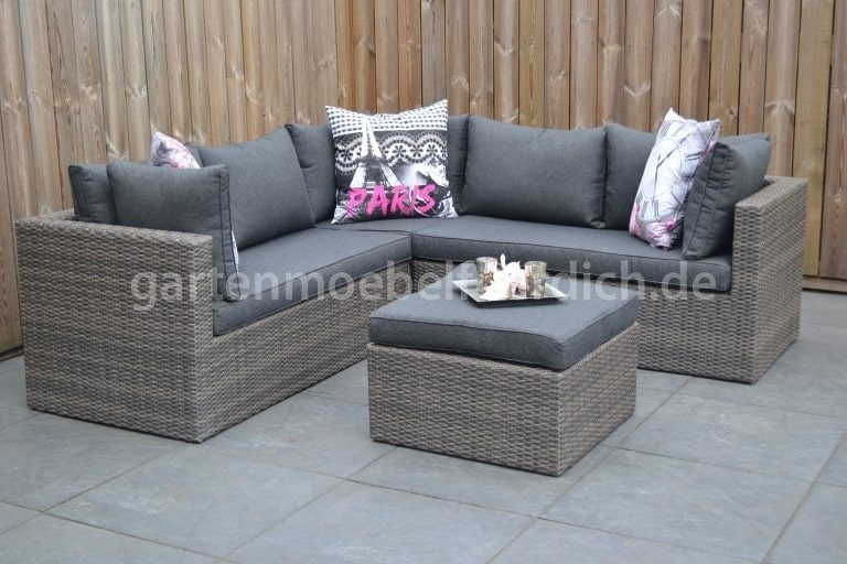 Polyrattan Lounge Anthrazit Louisiana Lounge Set, Ecke Mit Hocker, Dunkelgrau Meliert