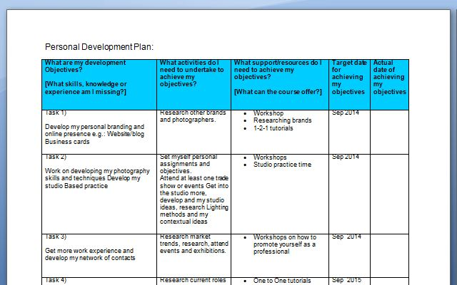 PDP (Personal Development Planning) Assignment \u2013 Goal setting - pdp plan example