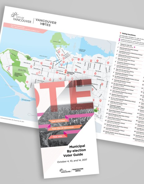 """""""Vote""""   Municipal By-election Voter Guide   Inside Location Map"""