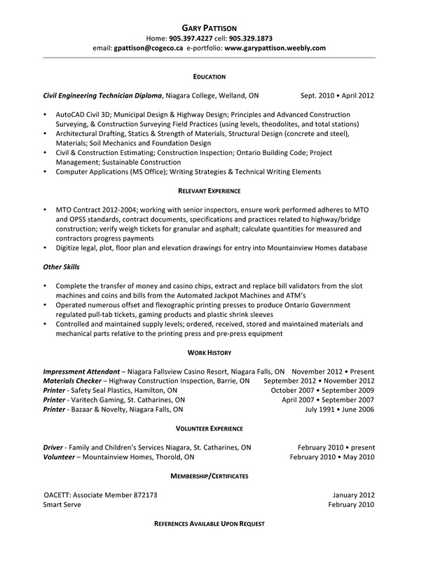RESUME - Gary Pattison Civil Engineering Technician
