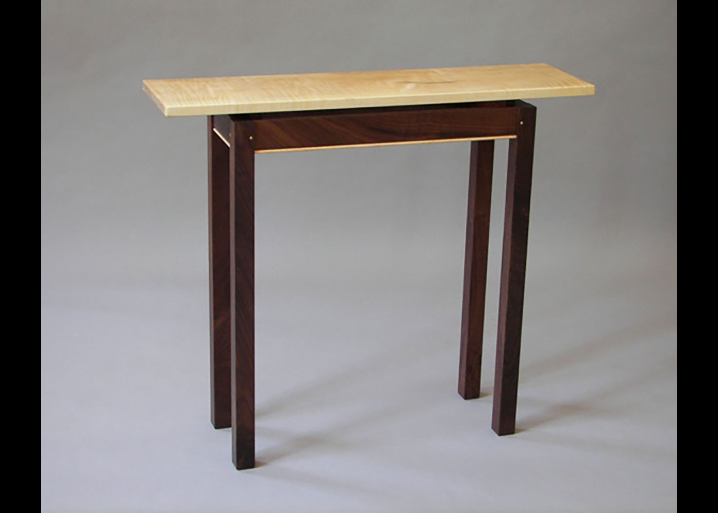 Tiger Maple Floating Top Hall Table with Walnut Base - Robert Gasperetti - Vermont Furniture Maker