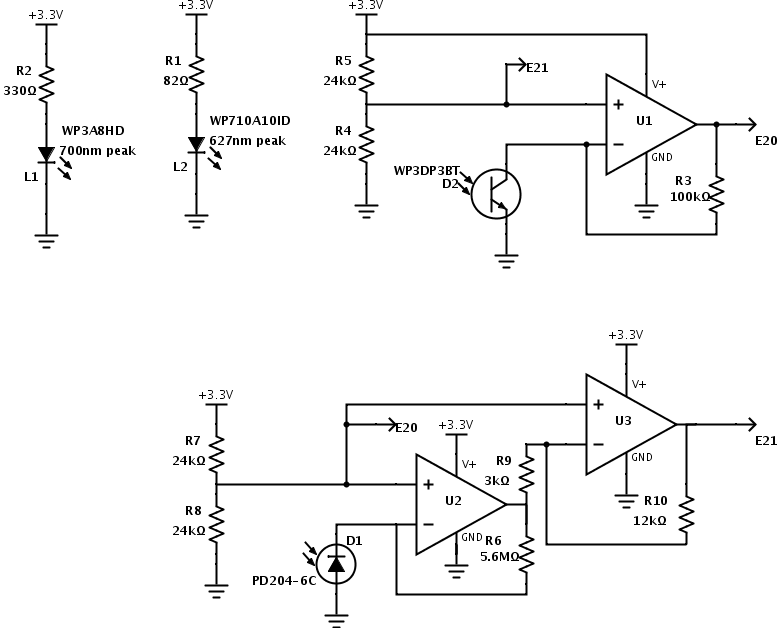 led circuits and transimpedance amplifiers for phototransistor and