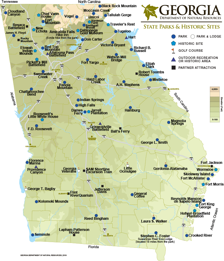 Mapa Hamburg Georgia State Parks & Historic Sites Map