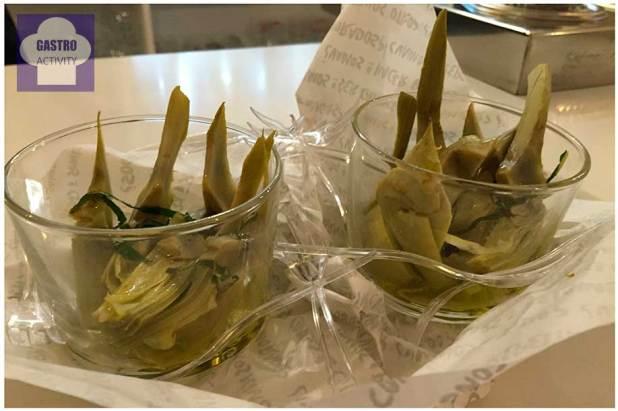 Alcachofas escabechadas en aceite extra virgen natural Restaurante Pura Vaca