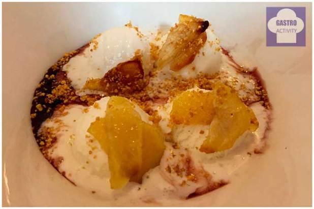 Sopa de vino con helado de mascarpone Top Ten Restaurante Madrid
