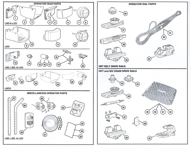 Select Products - Parts - Garage Door Opener Parts (Residential