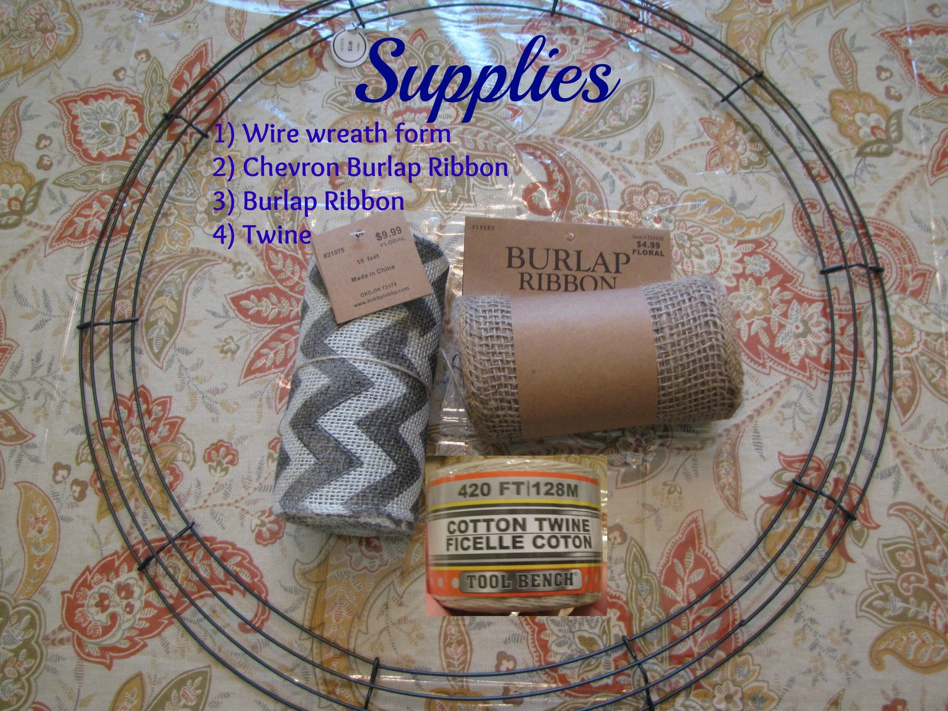Diy Wreath Supplies Diy Chevron Burlap Wreath Tutorial