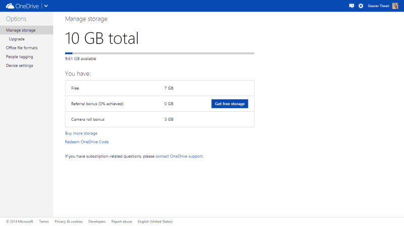 10GB Storage on OneDrive