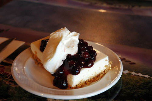 Cheesecake Smothered in Saskatoon Berries