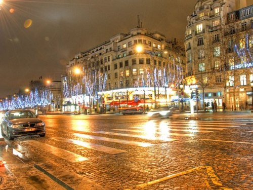 Luxury Shopping Destinations: Champs Elysees at night time