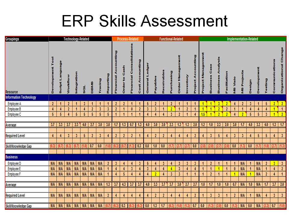 Conducting ERP Assessment to Maximize ERP ROI ERP the Right Way! - technical assessment template
