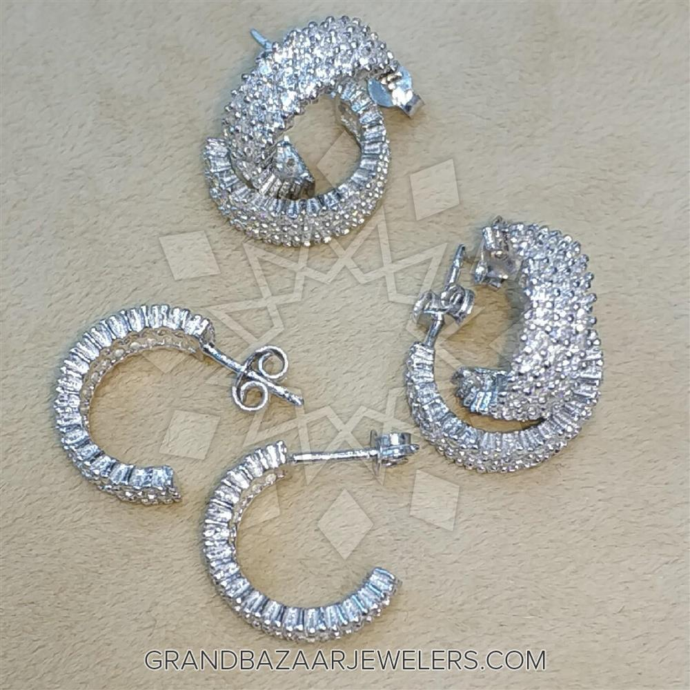 Wholesale Jewelry Packaging Wholesale Jewelry Zirconia Pave 925 Sterling Silver Hoop Earrings