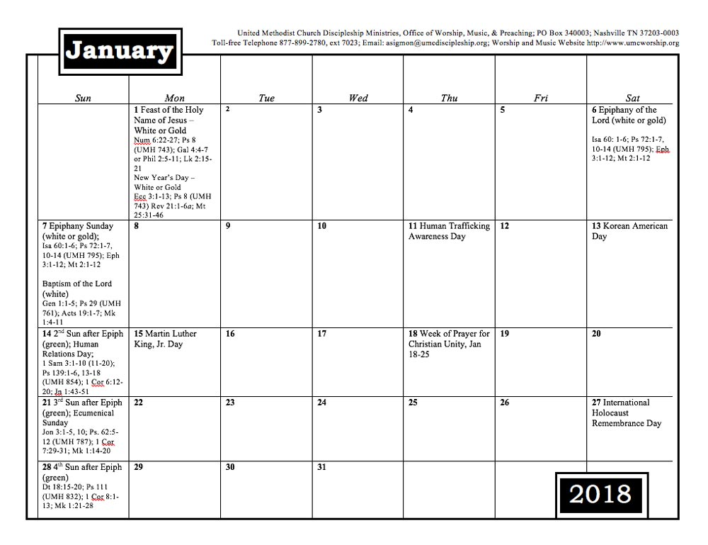 2018 Worship and Music Planning Calendar - Discipleship Ministries
