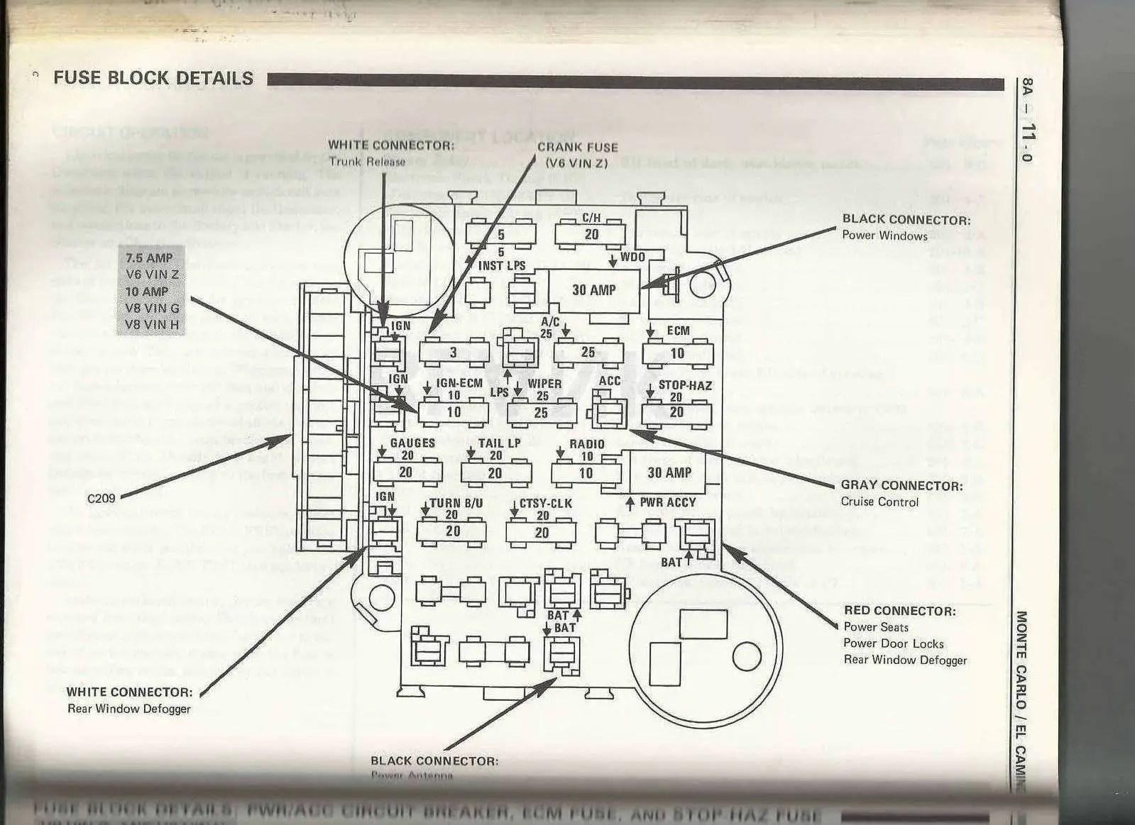 87 El Camino Fuse Box - Wiring Diagram 500  Chevy El Camino Wiring Diagram on 1985 chevy g30 wiring-diagram, 1985 chevy truck wiring diagram, 1985 jeep cj7 wiring-diagram,