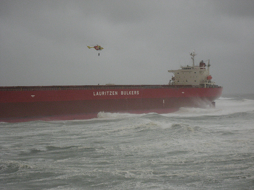 Man Being Resuced from Grounded Coal Ship Off Australia's Coast