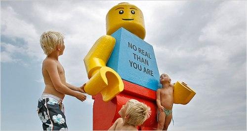 Giant Lego Man at the beach