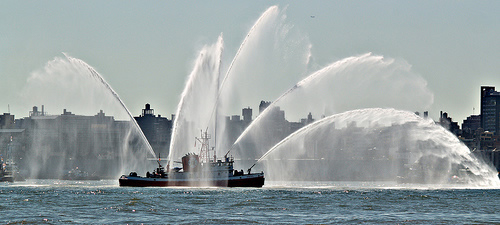FDNY Fireboat Spray With Water Monitors