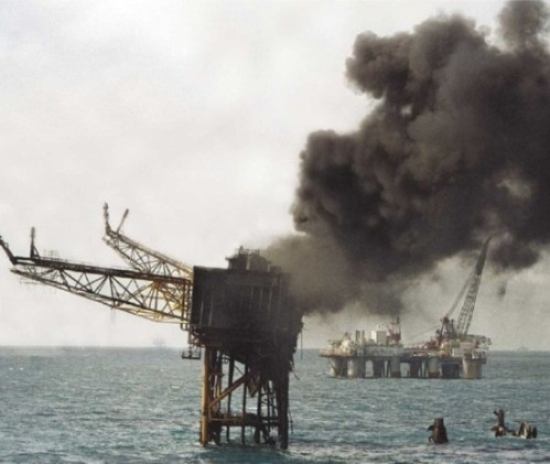 The Piper Alpha after the fire.