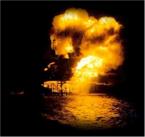 Piper Alpha Ablaze at Night