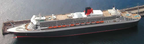 The Queen Mary 2 as seen from above