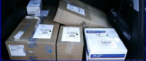 packages in a van