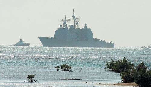 USS Port Royal grounded off the coast