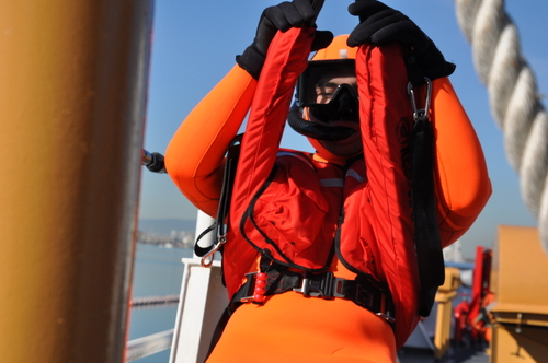 CG Rescue Swimmer Hoisted On Sling