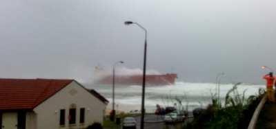 coal ship runs aground