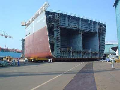 Exploratory Drillship In Shipyard