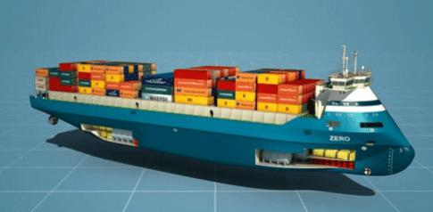 LNG container feeder vessel design zero-emission
