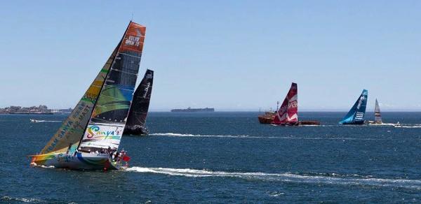 Team Sanya Camper Puma Telefonica Volvo Ocean Race sailing upwind