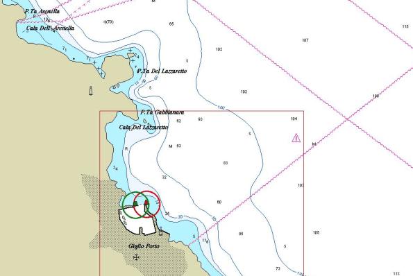 Giglio chart island costa concordia map