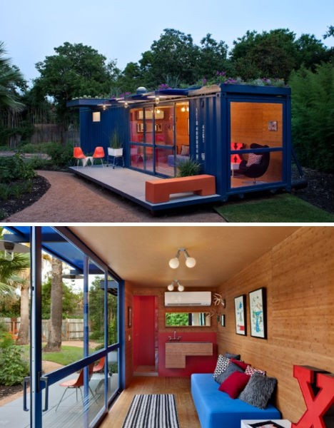 New uses for shipping containers in a postmodern world for House with guest house
