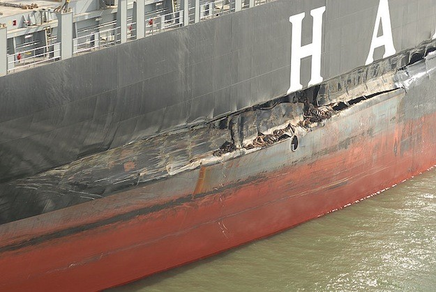 Damage to the Cosco Busan after the allision with San Francisco's Bay Bridge.