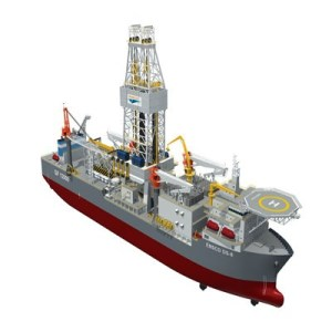 An artists rendition of the Ensco DS-10 drillship design.