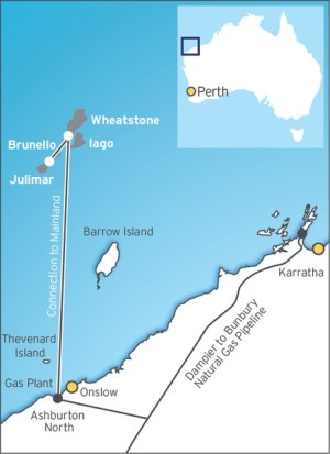 wheatstone LNG chevron australia map