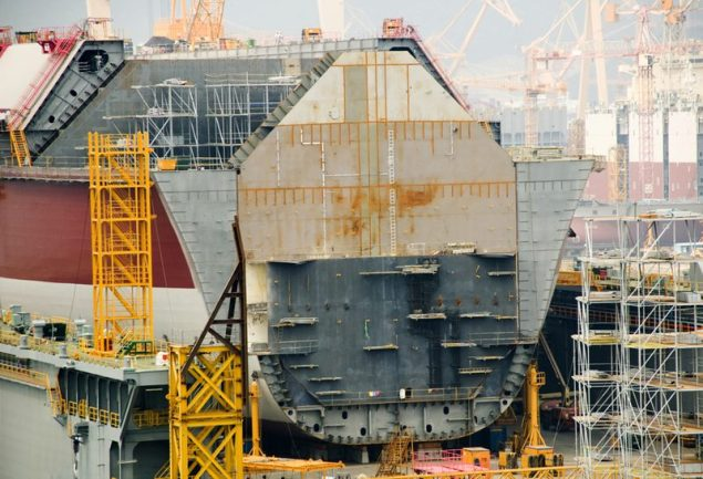 shutterstock lng carrier under construction