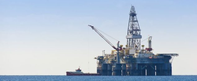 Gulf Of Mexico Oil Rig And Workboat