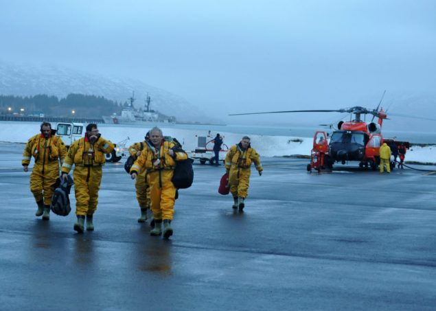Crewmembers of the mobile drilling unit Kulluk arrive safely at Air Station Kodiak after being airlifted by a Coast Guard MH-60 Jayhawk helicopter crew from the vessel 80 miles southwest of Kodiak, Saturday, Dec. 28, 2012. A total of 18 crewmembers of the mobile drilling unit were airlifted to safety after they suffered issues and setbacks with the tug and tow. U.S. Coast Guard photo by Petty Officer 3rd Class Jonathan Klingenberg.